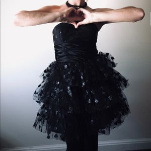 Betsey Johnson Black Tulle Hearts Dress with Bow